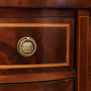 George III Inlaid Mahogany Demilune Side Cabinet