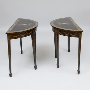 Pair of George III Mahogany Demilune Pier Tables