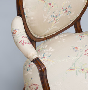 George III Carved Mahogany Armchair, in the Manner of John Linnell