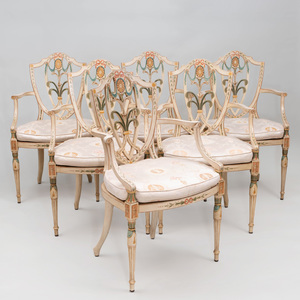 Set of Six George III Style Polychrome Decorated Armchairs, After Seddon & Sons