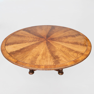 Victorian Brass-Inlaid Mahogany Breakfast Table
