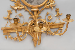 Pair of Early Edwardian Style Gilt Composition Three-Light  Girandole Mirrors , in the Manner of Robert Adam