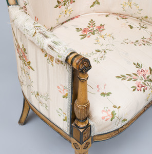Pair of Directoire Style Painted and Parcel-Gilt Bergères