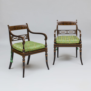 Pair of Regency Polychrome Decorated Caned Armchairs, by John Gee