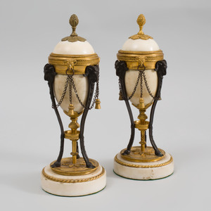 Pair of Louis XVI Gilt and Patinated Bronze-Mounted Marble Cassolettes