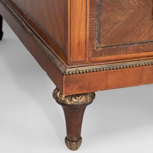 Victorian Gilt-Bronze-Mounted Tulipwood and Amaranth Pedestal Desk