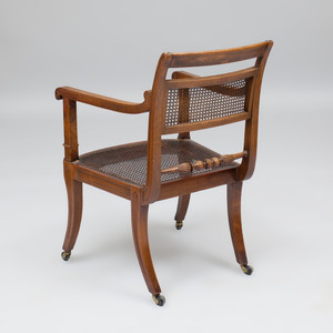 Regency Mahogany and Ebony-Inlaid Armchair, in the Manner of George Smith
