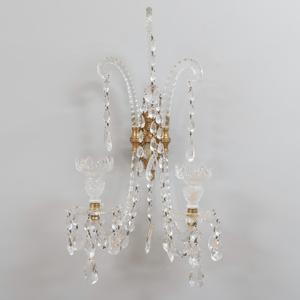 Pair of English Cut Glass and Lacquered Brass Two-Light Wall Lights