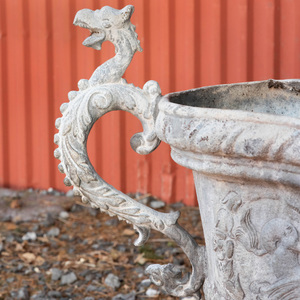 Pair of Lead Two Handled Garden Urns