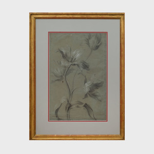 French School: Sketch of Four Tulips; and Sketch of Three Peonies