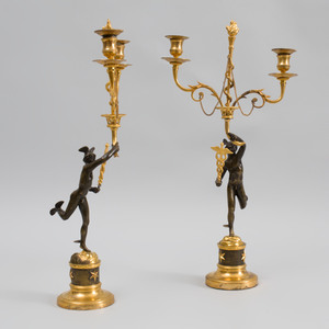 Pair of Directoire Ormolu and Patinated-Bronze Figural Two-Light Candelabra