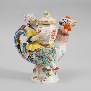 Meissen Porcelain Chinoiserie Figural Mustard Pot and Cover