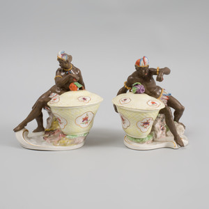 Pair of Nymphenburg Porcelain Sweetmeat Baskets and Covers Emblematic of Africa