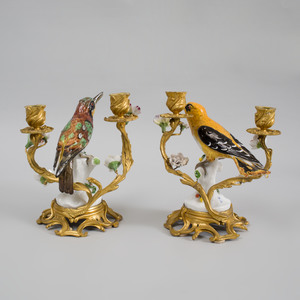 Pair of Louis XV Style Gilt-Metal Mounted Porcelain Two-Light Candelabra