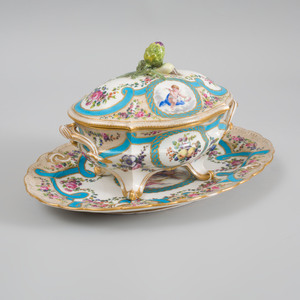 Sèvres Porcelain Bleu Céleste Ground Small Tureen, Cover and Stand