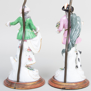 Pair of Large Samson Porcelain Figures of a Gardener and His Companion, Now Mounted as Lamps