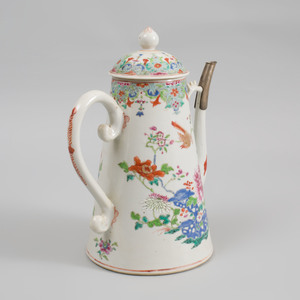 Chinese Export Porcelain Famille Rose Large Coffee Pot and Cover