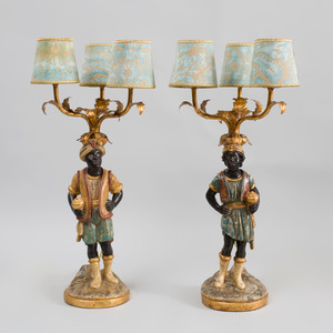 Pair of Italian Rococo Style Carved, Painted and Parcel-Gilt Moor Three-Light Candelabra, 20th Century