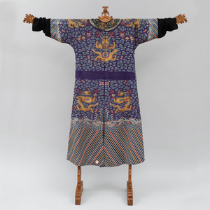 Chinese Blue Silk Gauze Dragon Robe, 'Jifu'