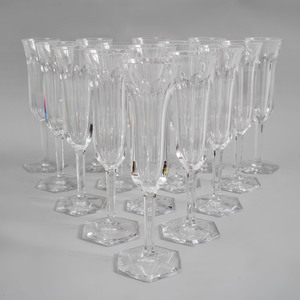 Set of Sixteen Baccarat Crystal Champagne Flutes in the 'Malmaison' Pattern