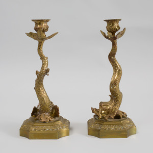 Pair of Regency Gilt-Bronze Dolphin Candlesticks