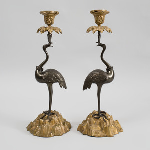 Pair of Regency Style Bronze and Gilt-Metal Crane Form Candlesticks