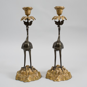 Pair of Regency Style Bronze and Gilt-Metal Crane Form Candlesticks