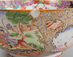 Modern Chinese Export Porcelain Famille Rose Punch Bowl Decorated with Hunt Scenes