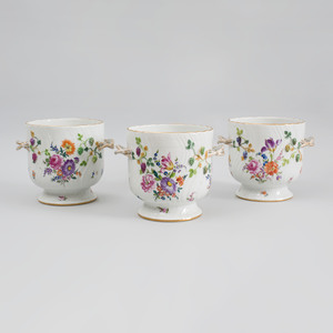 Set of Three Dresden Porcelain Two Handled Wine Coolers