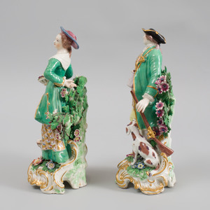 Pair of Chelsea Porcelain Figures of a Huntsman and Companion