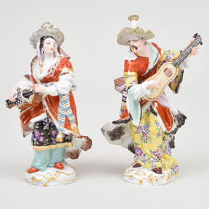 Pair of Meissen Porcelain Figures of Malabar Musicians