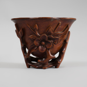Chinese Carved Wood Libation Cup and a Naturalistic Carved Brush Pot
