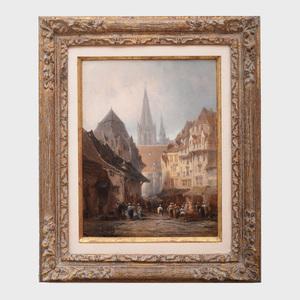 Léonard Saurfelt (c. 1840-?): Street View with Market