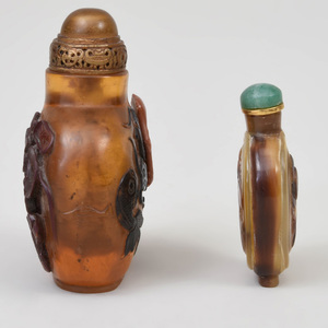 Two Chinese Horn Snuff Bottles