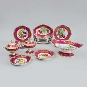 Spode Feldspar Porcelain Claret Ground Part Botanical Dessert Service