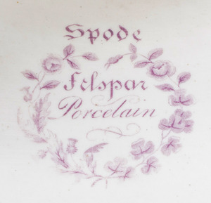 Spode Feldspar Porcelain Claret Ground Part Botanical Dessert Service
