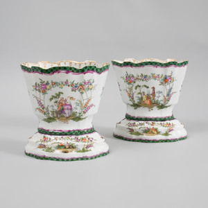 Pair of Meissen Porcelain Cachepots and Stands