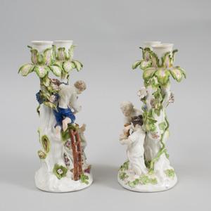 Pair of Meissen Porcelain Figural Two-Light Candelabra