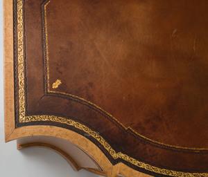 Large Victorian Bird's Eye Maple Pedestal Partner's Desk