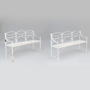 Pair of Painted Wrought Iron Garden Benches