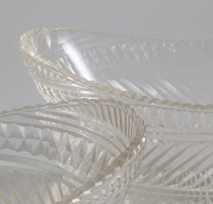 Pair of Anglo-Irish Cut Glass Navette Form Bowls