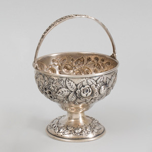 Kirk and Son Repoussé Silver Sugar Pail with Swing Handle