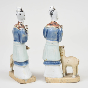 Pair of Chinese Porcelain Figures with Deer