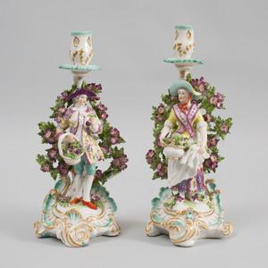 Pair of Chelsea Gold Anchor Porcelain Figural Candlesticks