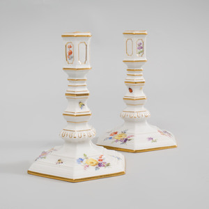 Pair of Meissen Porcelain Candlesticks