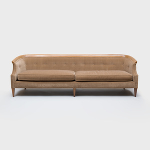 Erwin Lambeth Walnut and Velvet Upholstered Two Seat Sofa