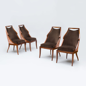 Set of Four Jacques Garcia Stained Wood 'Malmaison' Side Chairs, for Baker