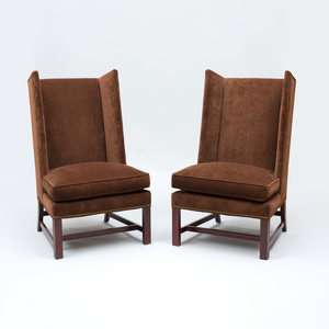 Pair of Hickory Chair Furniture Company Brown Velvet Upholstered Armchairs