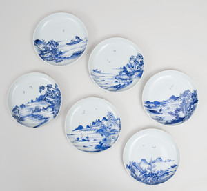 Set of Six Chinese Blue and White Porcelain Dishes