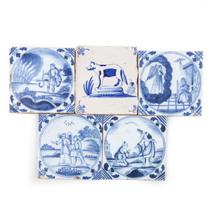 Set of Four Delft Blue and White Tiles Depicting Biblical Scenes